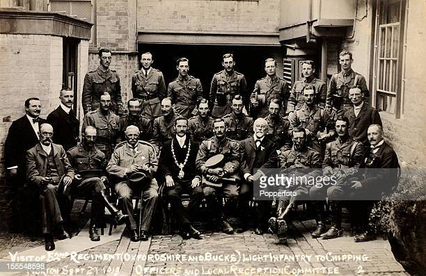 The officers and reception committee on the occasion of the visit of the 52nd Regiment Light Infantry to Chipping Norton during World War One on 27th...