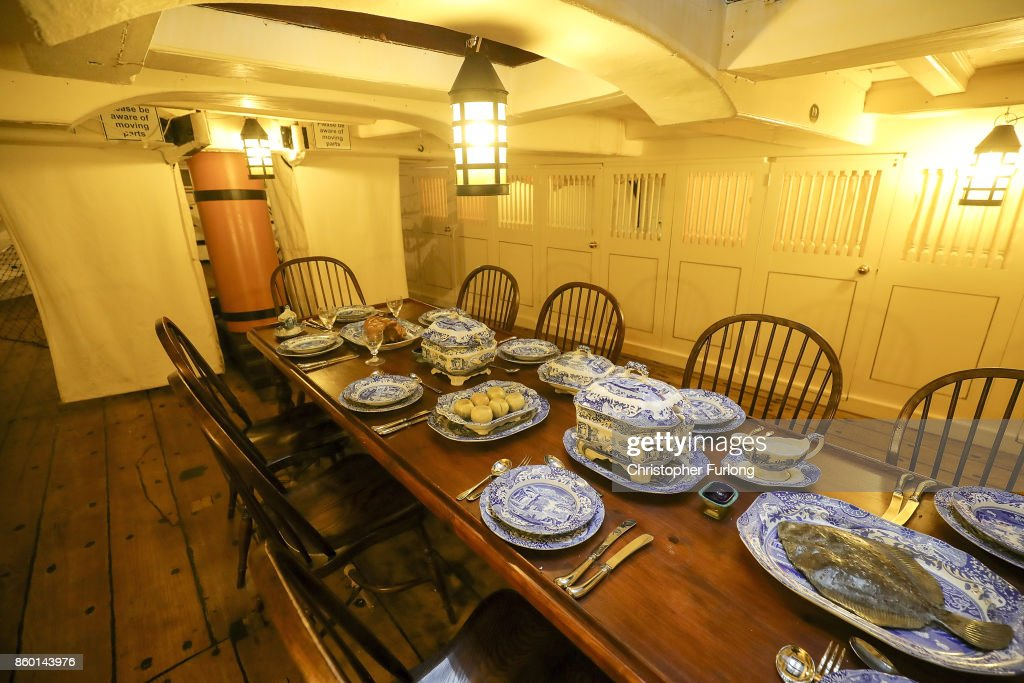 The officers dinner table is laid out on HMS Trincomalee as it floats in Hartlepool Historic Quay at the National Museum of The Royal Navy on October 11, 2017 in Hartlepool, England. HMS Trincomalee, celebrates it's 200th aniversary tomorrow and is the oldest British fighting ship still afloat. HMS Trincomalee was built in Bombay in 1817 and was one of the last ships commissioned to be built by Nelson. The ship was named Trincomalee after the 1782 Battle of Trincomalee in Ceylon