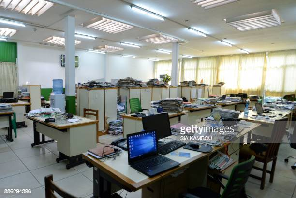 The offices are deserted by employees of the Ivorian newspaper 'Fraternite Matin' during a strike to demand the resignation of CEO Venance Konan and...