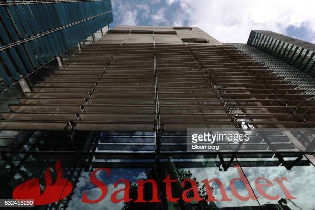 The offices of Banco Santander SA stand in London UK on Tuesday Aug 15 2017 Banco Santander Spains biggest lender has bought minority stakes in three...