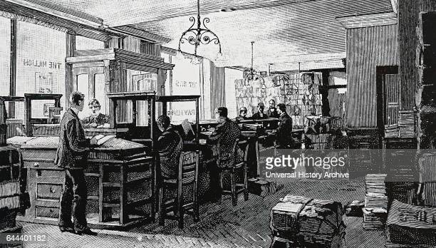 The offices of the Publisher George Newnes 1892 Note the Gas lamps from the ceiling