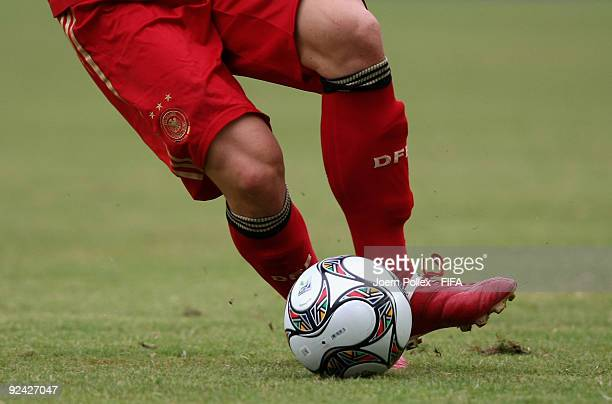 The official adidas ball is seen during the FIFA U17 World Cup Group A match between Argentina and Germany at the Abuja National Stadium on October...