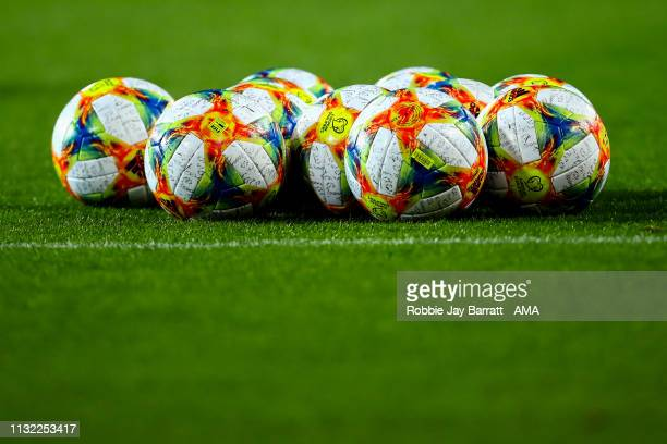 The official Adidas European Qualifiers match balls during the 2020 UEFA European Championships group F qualifying match between Spain and Norway at...