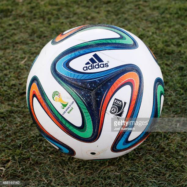 The official Adidas FIFA World Cup match ball 'Brazuca' is pictured prior to the International Soccer friendly match between Chile and Haiti on...