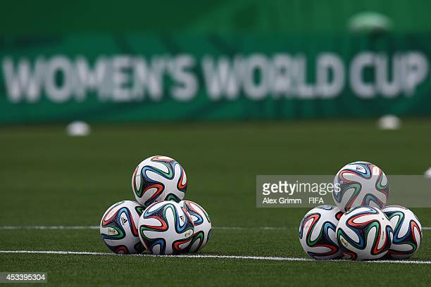 The official adidas match ball 'Brazuca' is pictured prior to the FIFA U20 Women's World Cup Canada 2014 group C match between England and Mexico at...