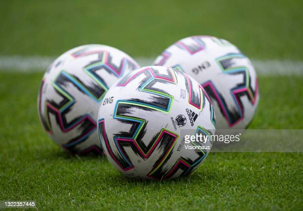The official adidas match ball for the European Championships during the international friendly match between England and Romania at Riverside...