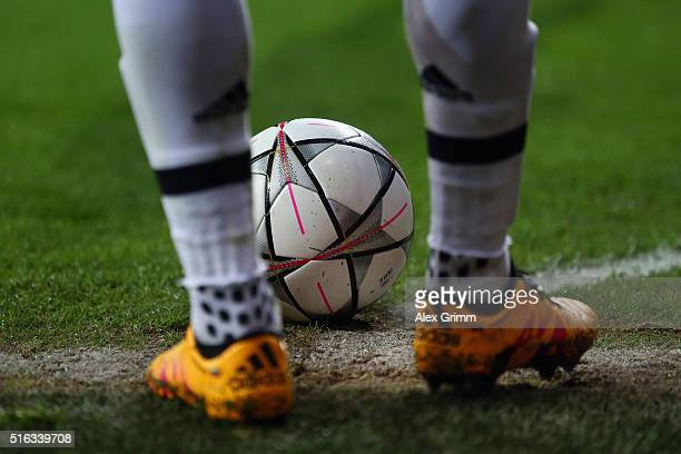 The official adidas match ball is seen during the UEFA Champions League Round of 16 Second Leg match between FC Bayern Muenchen and Juventus at...