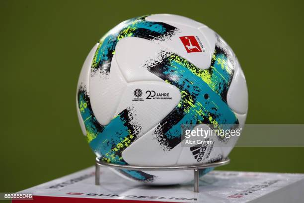 The official adidas match ball Torfabrik with the logo of '20 Jahre Aktion Ehrenamt' is seen during the Bundesliga match between SportClub Freiburg...