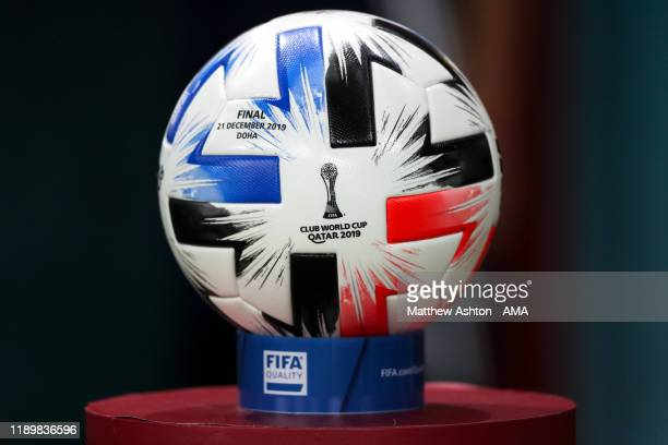 The Official Adidas Tsubasa FIFA World Club Cup 2019 final match ball prior to the FIFA Club World Cup Qatar 2019 Final match between Liverpool FC...