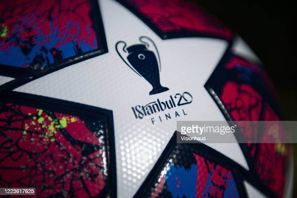 The official Adidas UEFA Champions League Match Ball displaying the logo for Istanbul 20 the venue for the final on May 5 2020 in Manchester England
