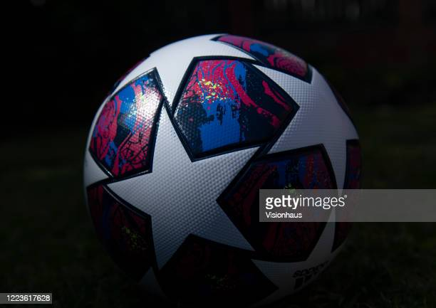 The official adidas UEFA Champions League match ball known as the Star Ball on May 5 2020 in Manchester England