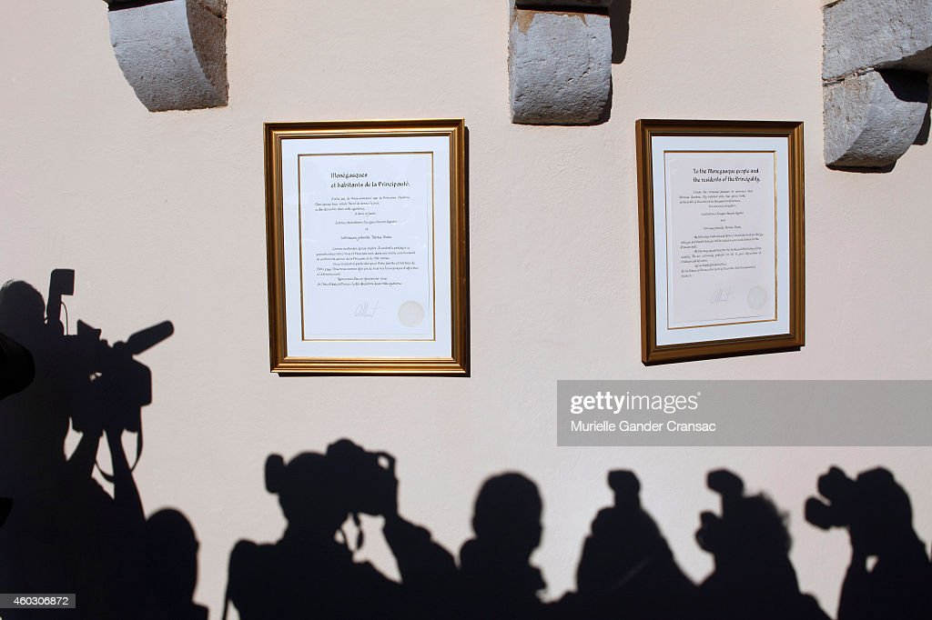 The official announcement of the birth of the royal twins Prince Jacques and Princess Gabriella hangs on the outside wall of the Monaco Palace on December 11, 2014 in Monaco, Monaco.