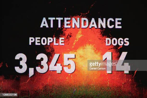 The official attendance figures are shown on the main screen during the Women's Big Bash League match between the Perth Scorchers and the Sydney...