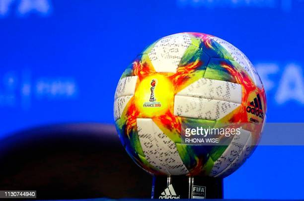 The official ball for the 2019 Women's World Cup in France sits on a table during a press conference following the FIFA Council Meetings in Miami...