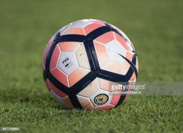 The official ball for the Copa Sudamericana lies on the pitch before the start of the first stage first leg football match between Argentina's Racing...