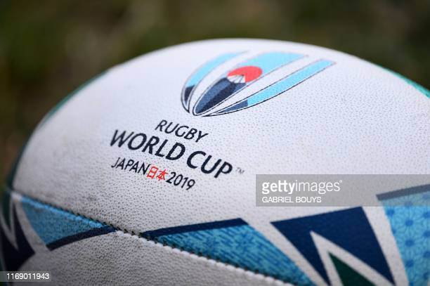 TOPSHOT The official ball for the Japan 2019 Rugby World Cup is seen during a Wales training session in Kitakyushu Stadium in Kitakyushu on September...