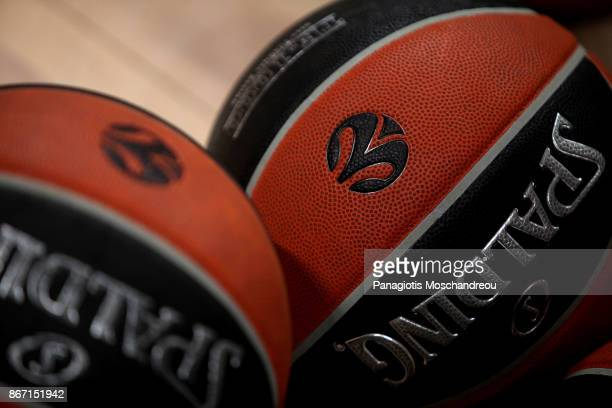 The official ball in the court before the 2017/2018 Turkish Airlines EuroLeague Regular Season Round 4 game between Panathinaikos Superfoods Athens...