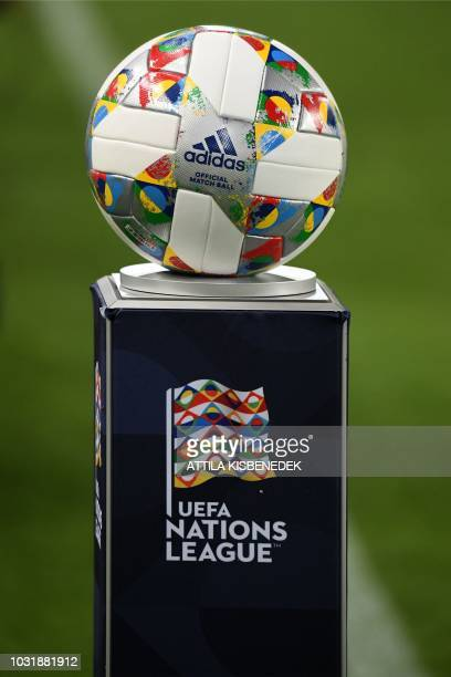 The official ball is pictured ahead of the Nations League football match between Hungary and Greece on September 11 in Budapest Hungary