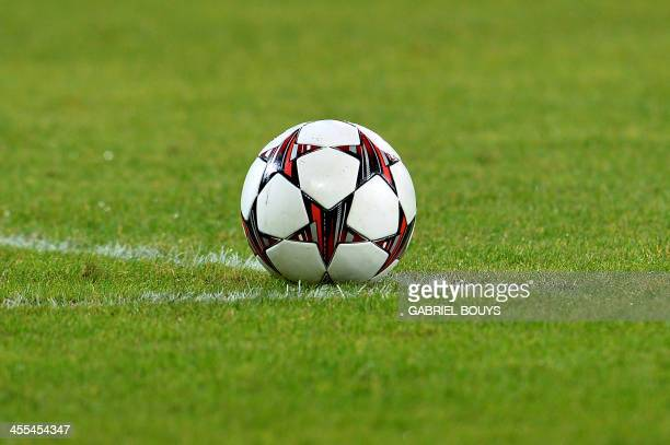 The official ball is pictured during the UEFA Champions League group F football match between SSC Napoli and Arsenal FC at the San Paolo Stadium in...