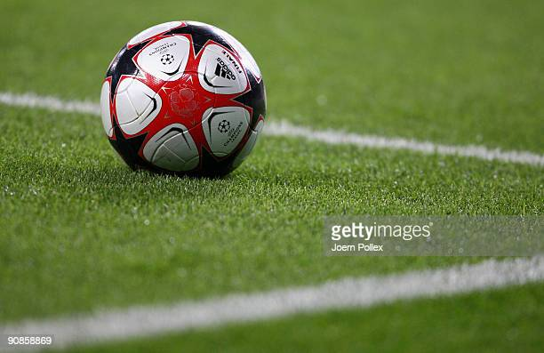 The official ball is pictured during the UEFA Champions League Group B match between VfL Wolfsburg and CSKA Moscow at Volkswagen Arena on September...