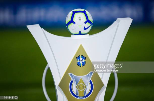 The official ball of Brasileirao 2019 is showed prior to the match between Palmeiras and Santos for the Brasileirao Series A 2019 at Pacaembu Stadium...