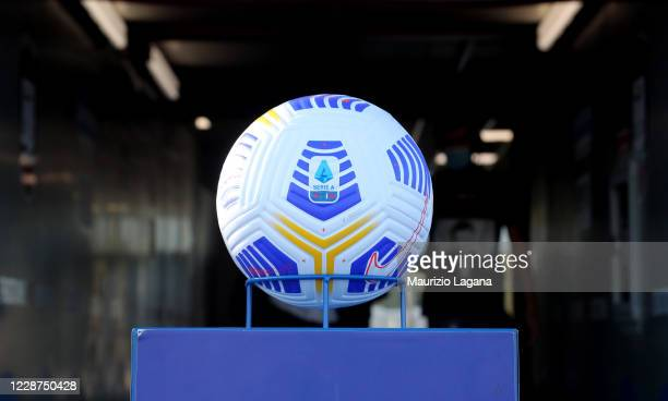 The official ball of Lega Sarie A during the Serie A match between FC Crotone and AC Milan at Stadio Comunale Ezio Scida on September 27, 2020 in...