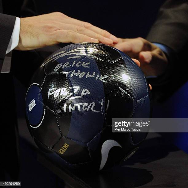 The official ball of the FC Internazionale Milano with the sign of Erick Thohir 'Che Tempo Che Fa' TV Show on November 17 2013 in Milan Italy