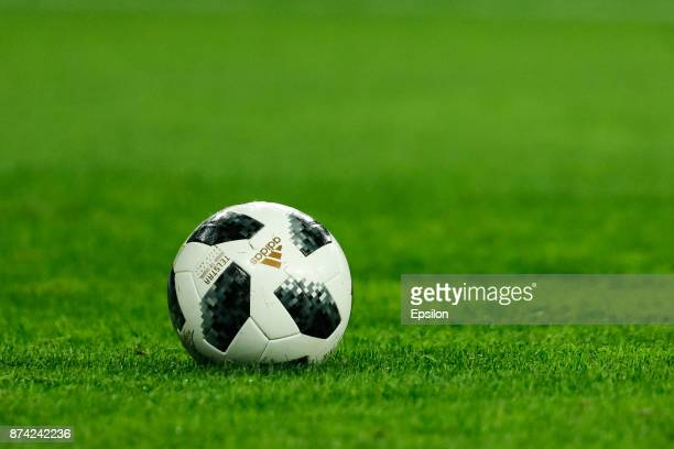 The official ball of the FIFA World Cup Russia 2018 is seen during Russia and Spain International friendly match on November 14 2017 at Saint...