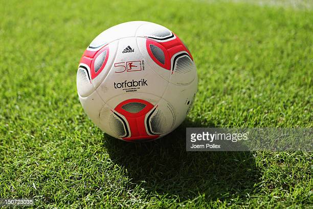 The official ball 'Torfabrik' is pictured prior to the Bundesliga match between Hamburger SV and 1 FC Nuernberg at Imtech Arena on August 25 2012 in...
