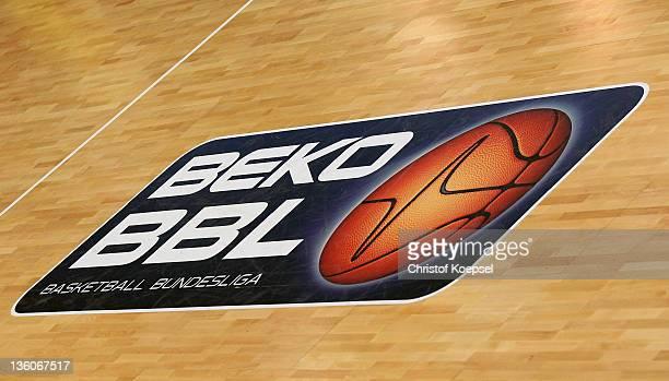 The official Basketball Bundesliga logo is seen during the Beko BBL Bundesliga match between Phoenix Hagen and s Oliver Baskets at ENERVIE Arena on...