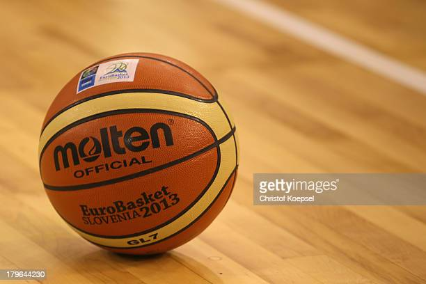 The official basketball of EuroBasket lies on the pitch during the FIBA European Championships 2013 first round group A match between Germany and...