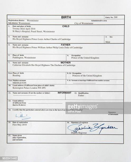 The official birth register entry of Prince Louis Arthur Charles of Cambridge which was signed by his father the Duke of Cambridge on May 01 2018 in...
