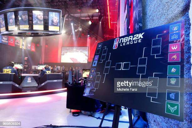 The official bracket of the NBA 2K League Mid Season Tournament on June 8 2018 at the NBA 2K League Studio Powered by Intel in Long Island City New...