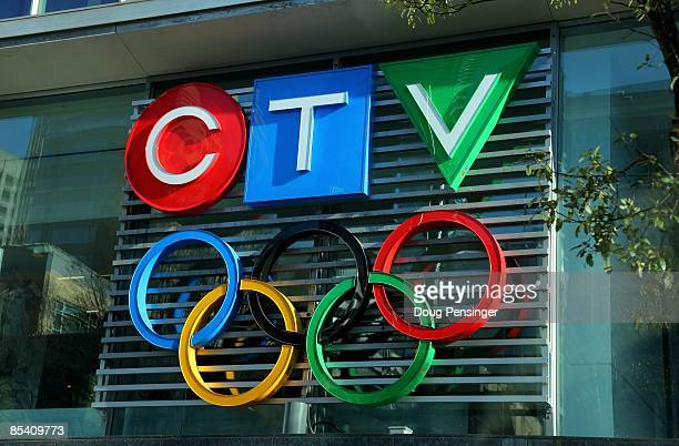 The Official Broadcaster of the 2010 Vancouver Winter Olympics, displays the Olympic Rings with it's logo at their Vancouver studios on March 11,...