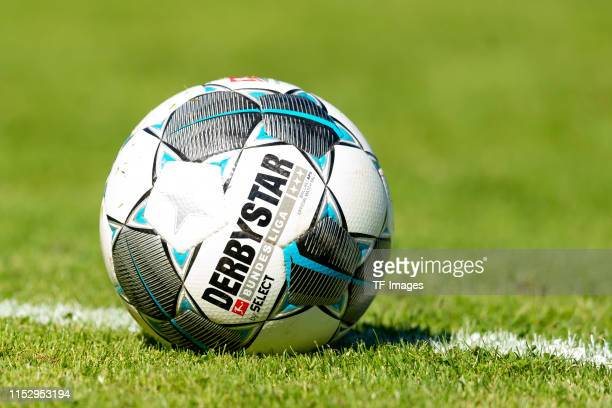 The official BUndesliga ball Derbystar Brilliant Bundesliga 19/20 APS is seen during the pre-season friendly match between FC Altenbochum and VfL...