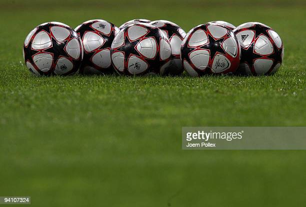 The official Champions League balls are pictured during a training session at the Volkswagen Arena on December 7, 2009 in Wolfsburg, Germany. VfL...