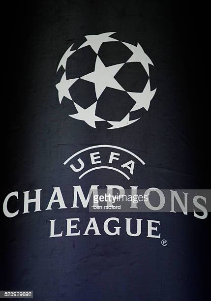 The official Champions League logo during the UEFA Champions League SemiFinal 2nd Leg match between Arsenal and Manchester United at the Emirates...