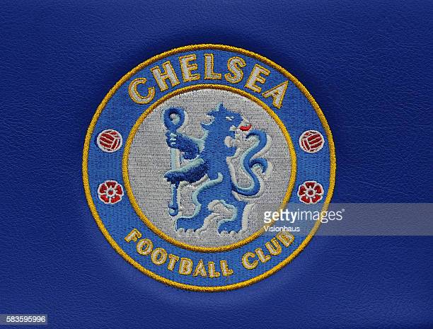 The official Chelsea Football Club crest printed on the seats of the away dug out during the Sky Sports Super Sunday coverage of the Barclays Premier...