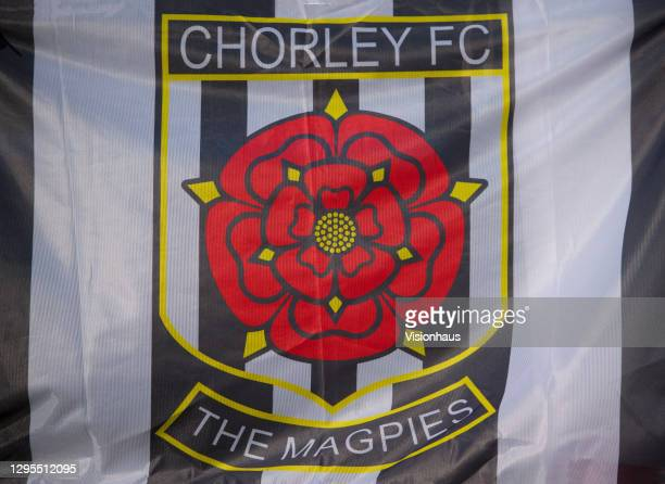 The official Chorley FC club crest on a banner before the FA Cup Third Round match between Chorley and Derby County at Victory Park on January 9,...