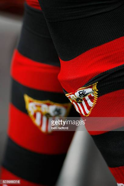 The official club crest on the socks of a Sevilla FC player during the LG Amsterdam Tournament match between Arsenal and Sevilla FC at the Amsterdam...