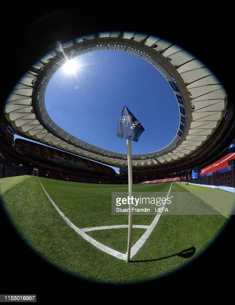 The official corner flag is seen on the pitch prior to the UEFA Champions League Final match between Tottenham Hotspur and Liverpool FC at Estadio...