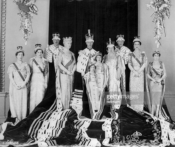 The official Coronation Group picture of the British family is shown with emphasis on the main family The photo was taken at Buckingham Palace by Hay...