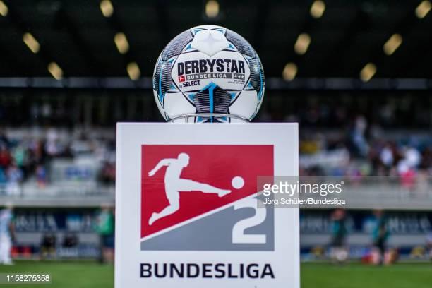 The official Derbystar ball prior the Second Bundesliga match between SV Wehen Wiesbaden and Karlsruher SC at BRITAArena on July 28 2019 in Wiesbaden...
