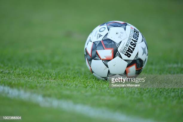 The official DFL Bundesliga Ball Derbystar is seen during the preseason friendly match between SC Olching and FC Augsburg on July 19 2018 in Olching...