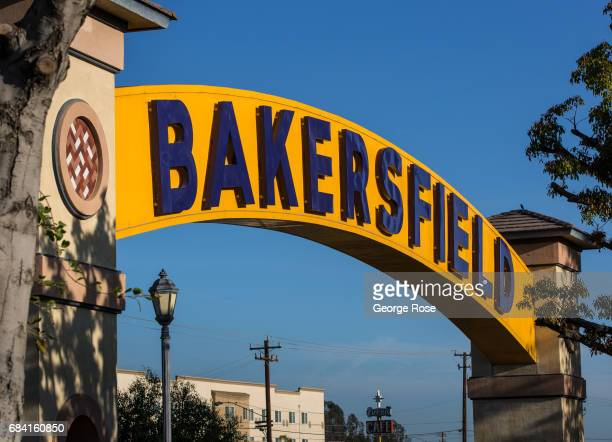 The official downtown entrance sign adjacent to Buck Owens' Crystal Palace is viewed on April 4 in Bakersfield California California Highway 58...