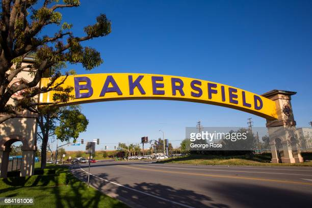 The official downtown entrance sign adjacent to the Buck Owens' Crystal Palace is viewed on April 4 in Bakersfield California California Highway 58...