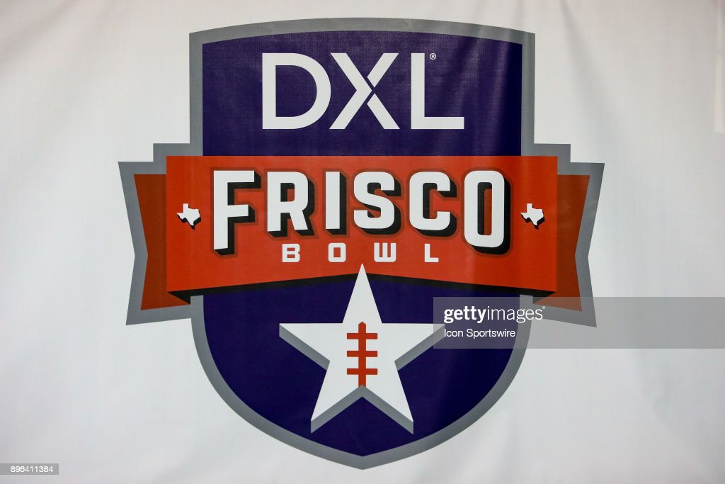 The official DXL Frisco Bowl logo is displayed at the inaugural game between the Louisiana Tech Bulldogs and SMU Mustangs on December 20, 2017 at Toyota Stadium in Frisco, TX.