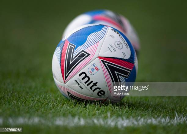 The official EFL Championship Mitre match ball before the Sky Bet Championship match between Blackburn Rovers and Stoke City at Ewood Park on January...