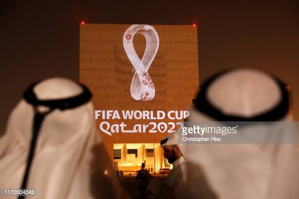 The Official Emblem of the FIFA World Cup Qatar 2022™️ is unveiled in Doha's Souq Waqif on the Msheireb Qatar National Archive Museum building on...