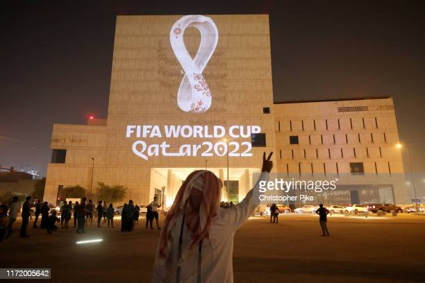 The Official Emblem of the FIFA World Cup Qatar 2022™️ is unveiled in Doha's Souq Waqif on the Msheireb - Qatar National Archive Museum building on...